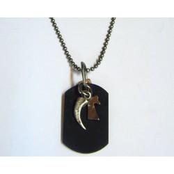 Colgante de acero envejecido con cuero de la marca Liska - 84CD571