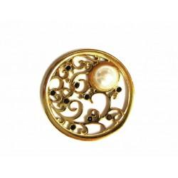 Moneda interior Shaka en acero dorado con perla blanca y piedras negras - 25500253D