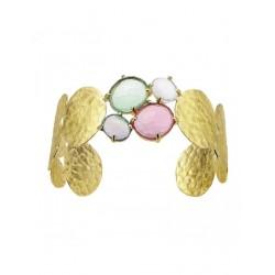 Brazalete  en dorado Posidonia , Martele, Cuarzo: Rosa, Amatista, Turmalina Y Azul Sky - 00505914