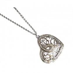 Collar en acero de la marca Lotus Style con colgante en forma de corazón de filigrana y rodeado de circonitas blanc - LS1668/1/1
