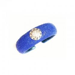 Pulsera de piel de raya  azul con aplique de plata y circonitas - 2646A