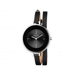 Reloj Elixa con esfera redonda y correa de piel en color negro - E063-L207