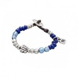 Pulsera Se Posa de Uno de 50  .De niña con cuentas plateadas y cristales azulados con abalorio de mariposa - PUL1277AZUMTL0S