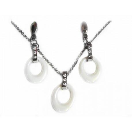 6591810a0b10 Conjunto de joyas de acero y cerámica blanca para mujer - JC17319 21
