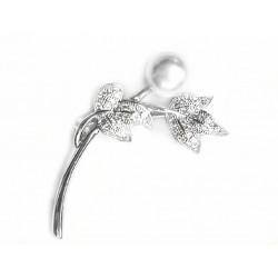 Broche de solapa de plata con pavonado de circonitas y  perla cultivada  - 026