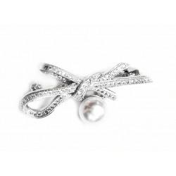 Broche de plata con pavonado de circonitas y perla cultivada  - 020