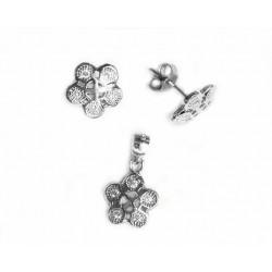 Conjunto de joyas en plata  y circonitas  para mujer  forma de flor - 072