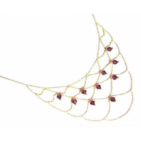 Collar de oro de 18 kl con amatistas - 400404/5.8