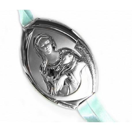 Medalla de cuna ovalada con placa en plaqué de plata Madonna con Niño en mate brillo y trasera de polipiel en color azu - 1009/M