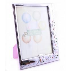 Marco infantil en plaque de plata mate y brillo  con la trasera en color rosa  tiene una medida de 16x22cm  - AL201113R