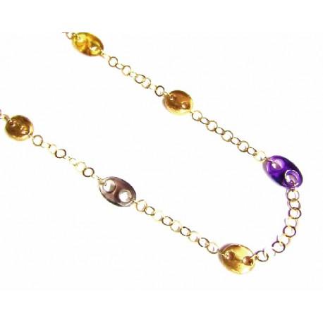 Collar de oro de 18 kl con anillas marineras de piedras de colores de 45 cms - 4P0089/15.8