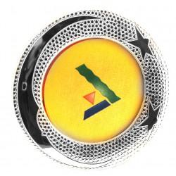 Marco infantil de plata, redondo con trasera en color amarillo y una medida de 14cm.  Motivos de luna con estrellas - 2509