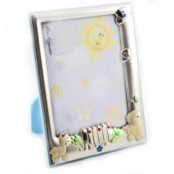 Marco infantil con trasera en color azul en plaque de plata con dibujitos esmaltados - RA03026/3LC