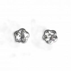 Pendientes de oro blanco de 18 kl con circonita y cierre de rosca - 2P.01786