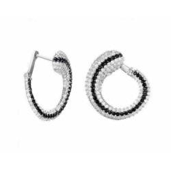 Pendientes de plata con circonitas y cierre catalán - D6018