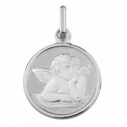 Medalla redonda en plata con angelito. - 1166454