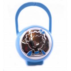 Porta chupete con placa en plaqué de plata y motivo de niño con lazo azul - 565062