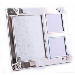 Marco infantil  de plaqué de plata para 3 fotos con dibujitos de animales esmaltados en colores - 352053