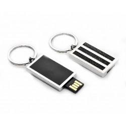 Llavero de plata con tiras de acero  y USB de la marca Cunill  - 491901
