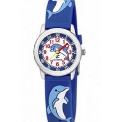 Reloj Calypso con correa de caucho azul y motivos en relieve - K6000/Q