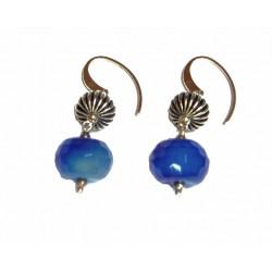 Pendientes de plata con agata azul y cierre de colgar - 1/805