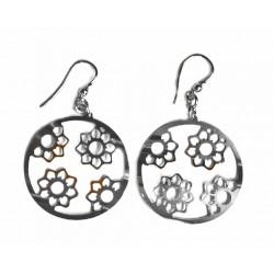 Pendientes de plata con flores y cierre de colgar  - 1X1020