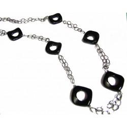 Collar de plata con rombos de onix y de 90 cms de largo - 4115C