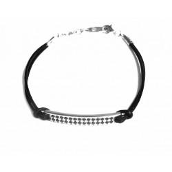 Esclava de cuero con chapa de plata y circonitas - 2618