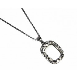 Colgante de plata rutenio con agata blanca - 6365RU