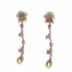 Pendientes de plata color cobre con flores y cierre de presión - 1X-1153