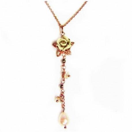 Colgante plata cobriza con flor y perla - 6X-448