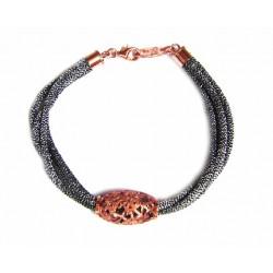 Pulsera con cordón metalizado y motivo color cobre de la colección Miña Xoia - 2-672C1