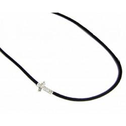 Cordón metalizado con cruz de plata con circonitas de la colección Miña Xoia  - 6-377RU
