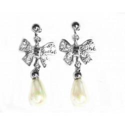Pendientes de plata con circonitas y perla de Porto Actual - 1-1018R