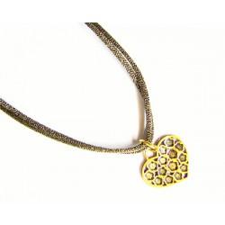 Colgante de plata dorada con cordón metalizado de la colección Miña Xoia - 6-385R2