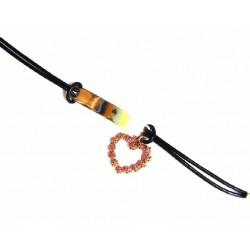 Pulsera de cuero con corazón de plata color cobrizo - 2-669