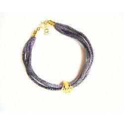 Pulsera de cordón plateado con concha de filigrana y terminales dorados - 2-61T1D