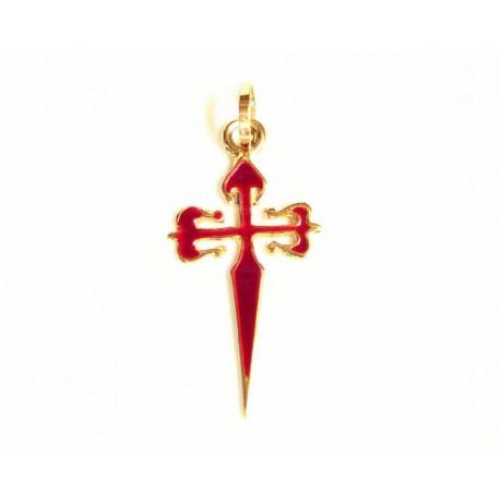 Cruz de Santiago de oro de 18 kl con esmalte rojo - 3-4TO