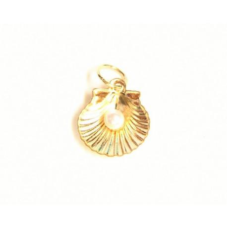 Concha de Santiago de oro 18 kl con perla  - 6-14TO