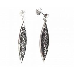 Pendientes de plata con circonitas y filigrana - 1-1039R