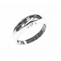 Anillo de plata rodiada con diamante de la colección Miña Xoia - 5-359RDIA