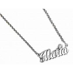 Collar de plata con nombre Maria y flor con brillante de la colección Miña Xoia - 6-405RDIA