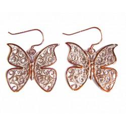 Pendientes de plata color cobre con filigrana de la colección Miña Xoia - 1-1058C