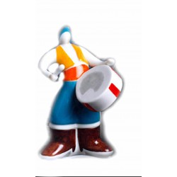 Alborada Bombo de cerámica de Galos Figura cerámica Galos.  - 8225