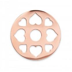 Moneda interior de acero color cobre para colgante con corazones - 25500110