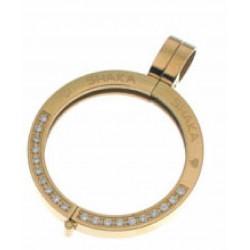 Soporte portamoneda en acero dorado con circonitas blancas engastadas. - 25500274D