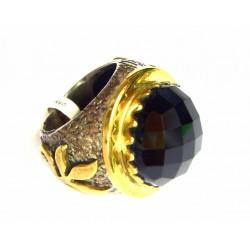 Anillo de plata y oro con onix  - 9754