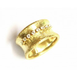Anillo de plata dorada con circonitas de Line Argent - 13402-G-R