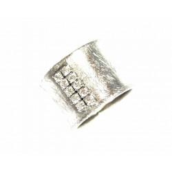 Anillo de plata facetado mate con circonitas - 13403-W-R