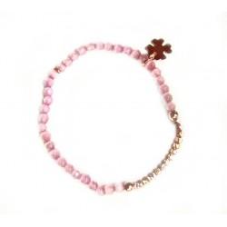 Pulsera de piedras rosa con circonitas - 13765-R-P